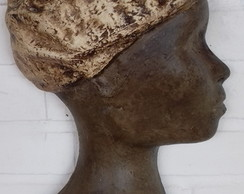 VASO DE PAREDE DECORATIVO ,ESCULTURA AFRO (sem as plantas)