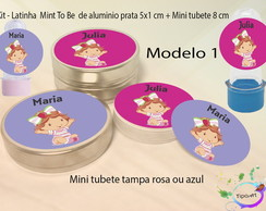 Kit Latinhas e Mini Tubetes -Moranguinho