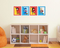 Kit 4 Quadros Decorativos Heroínas Marvel
