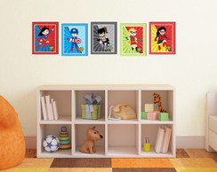 Kit 5 Quadros Decorativos Super Heroínas 24x30 cm