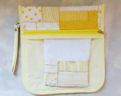 Kit higiene Infantil Tema Patch Work amarelo