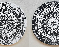 Dueto de Mandalas Black and White - pronta entrega
