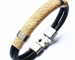 Leather Bracelet Black and Brow