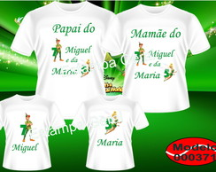 Kit Familia camisetas Peter Pan e Sininho c/4