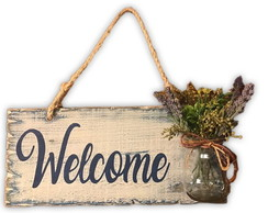 Placa Rustica Welcome com Vasinho 13% OFF