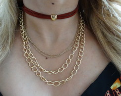 Colar Choker Mix Gold Heart