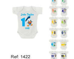 Body Mesversario menino kit 12 meses personagens com nome