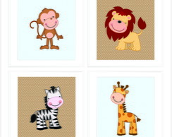 Kit Quadro Infantil - Safari