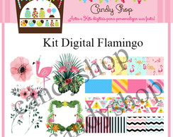 Kit Scrapbook Digital Flamingo Tropical Abacaxi