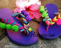 Sandália Havaianas customizada adulta boho colorida summer
