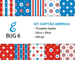 Kit papel digital Capitão América