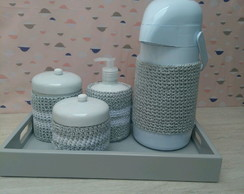 Kit Higiene Porcelana Chevron Cinza