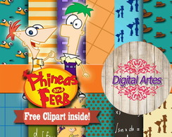 Kit Digital Papéis Phineas e Ferb