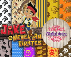 Kit Digital Papéis Jake e os Piratas da Terra do Nunca