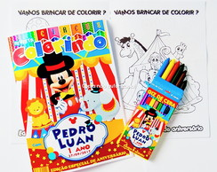 Kit Colorir Mickey Circo Revista Giz personalizado