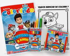 Kit Colorir Patrulha Canina massinha revista personalizado