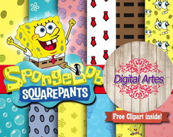 Kit Digital Papéis Bob Sponja