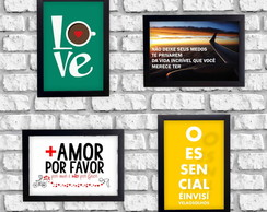 Kit 4 Quadros Decorativos Frases Love + Amor por Favor