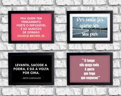 Kit 3 Quadrinhos Decorativos Frases E Músicas Boas Moldura No Elo7