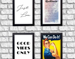 Kit 4 Quadros Decorativos Frases Just Love Good VIbes Mulher