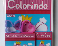 Kit Colorir + Massinha com 2 Moldes Peppa Pig