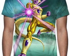Camiseta Dragon Ball Super - Freeza Dourado Estampa Total