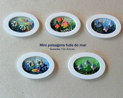 "Kit Imãs ""Mini Paisagens fundo do Mar"" (05 pçs)."