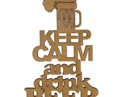 Aplique MDF keep calm and drink beer 15x10