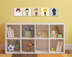 Kit 5 Quadros Decorativos Star Wars Baby 19x19cm
