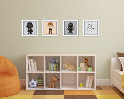 Kit 4 Quadros Star Wars com Moldura