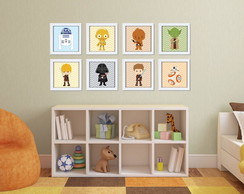 Kit 8 Quadros com Moldura Star Wars Baby