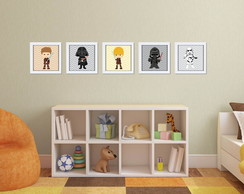 Kit 5 Quadros Decorativos Star Wars com Moldura