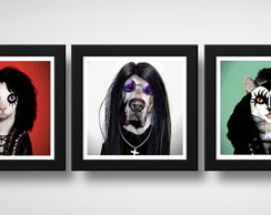 Kit 3 Quadros Cachorro Gato Rock Ozzy Kiss Alice Cooper Pet