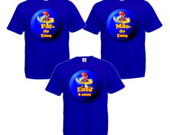 Kit 3 Camisetas Personalizadas Super Mario Bros.