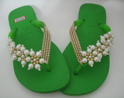 Chinelo decorado havaianas top verde