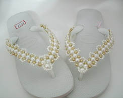 Chinelo decorado havaianas top branco