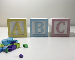 3 Cubos de Madeira Decorativo ABC- Candy