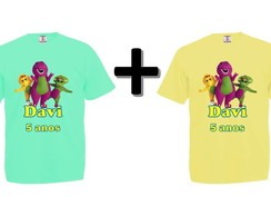Kit 2 Camisetas Coloridas Barney