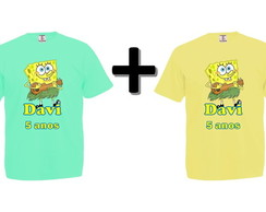 Kit 2 Camisetas Coloridas Bob Esponja