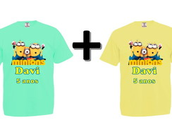 Kit 2 Camisetas Coloridas Minions