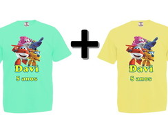 Kit 2 Camisetas Coloridas Super Wings