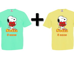 Kit 2 Camisetas Coloridas Snoopy