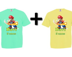 Kit 2 Camisetas Coloridas Super Mario Bros.
