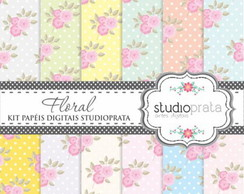 Kit Papeis Digitais Scrapbook Floral REF004
