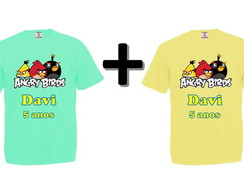 Kit 2 Camisetas Coloridas Angry Birds
