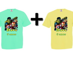 Kit 2 Camisetas Coloridas Lego Super Heroes
