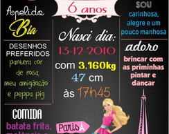 PLACA DECORATIVA EM MDF BARBIE PARIS
