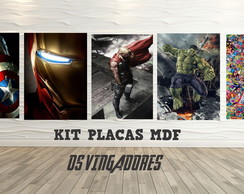 KIT PLACA DECORATIVA EM MDF OS VINGADORES