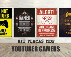 KIT PLACA DECORATIVA EM MDF GAMERS YOUTUBERS