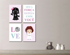 Kit 4 Quadros Decorativos Princesa Star Wars Baby